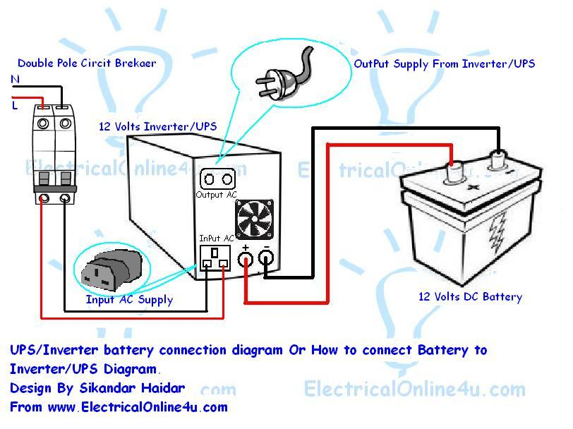 How to connect ups inverter to battery and to ac supply ups inverter battery connection diagram cheapraybanclubmaster Image collections