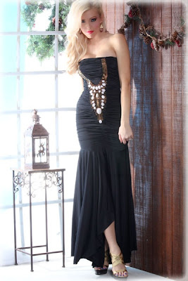 BLACK GEM STUDDED RUCHED SEXY STRAPLESS EVENING GOWN DRESS