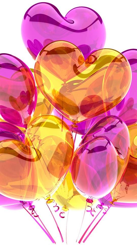 HD Purple Yellow Heart Balloons  Galaxy Note HD Wallpaper