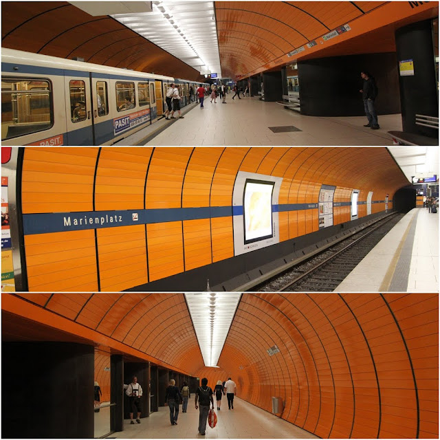 Marienplatz subway station in bright orange and clean environment in Munich, Germany
