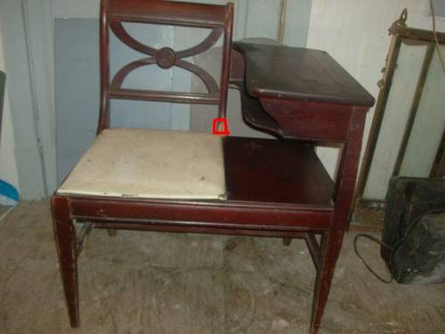 Antique Telephone Table With Attached Chair - Antique Telephone Table With Attached Chair Antique Furniture