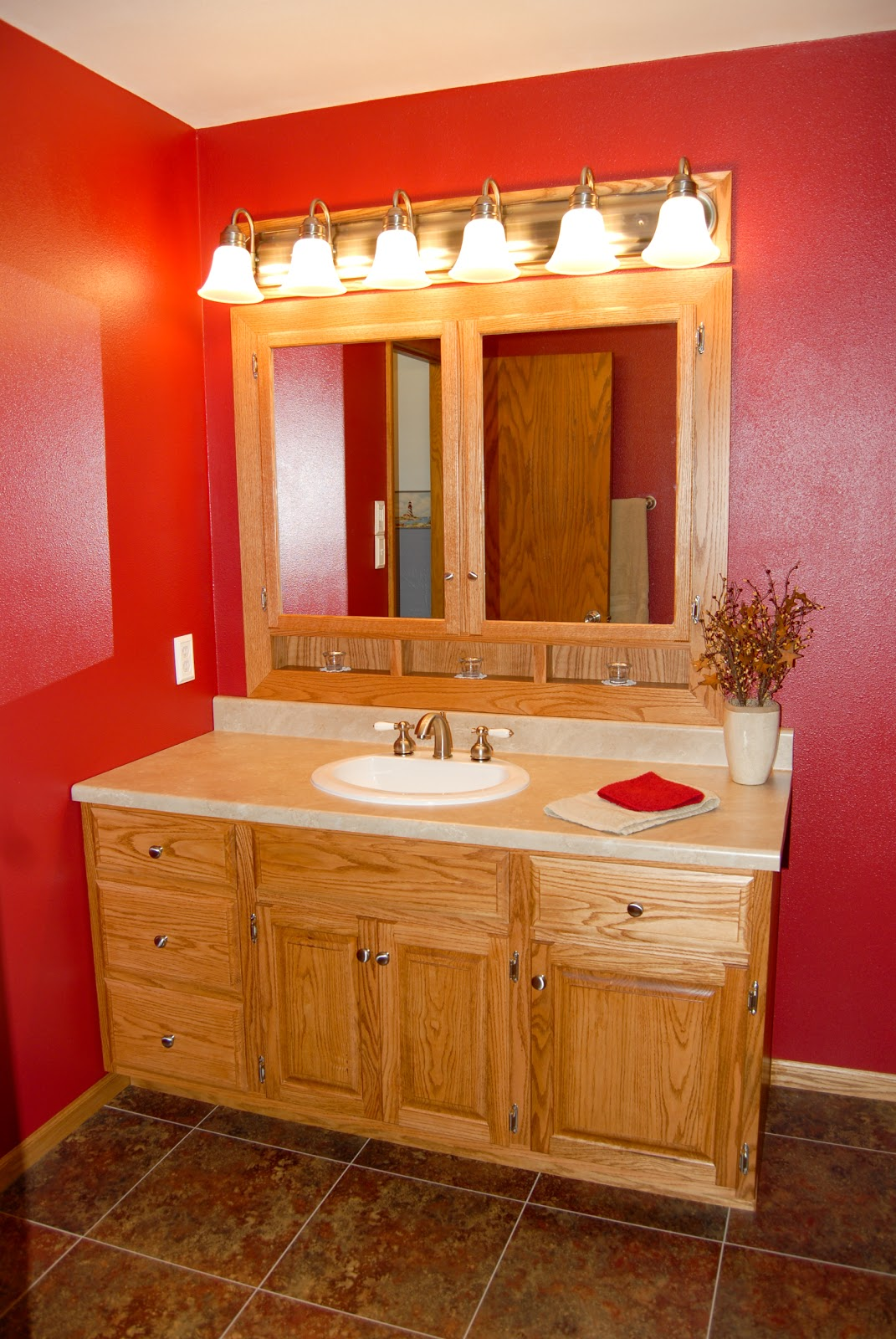 Lg custom woodworking custom made oak bathroom vanity and built in medicine cabinet - Custom made cabinet ...