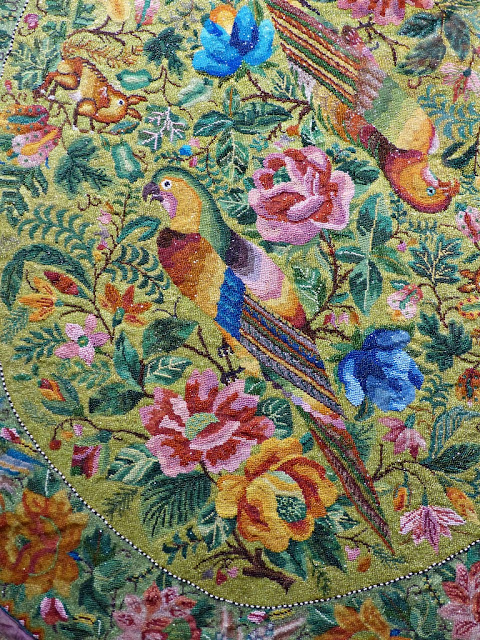 Parrots and deer Peranakan beadwork early 20th century