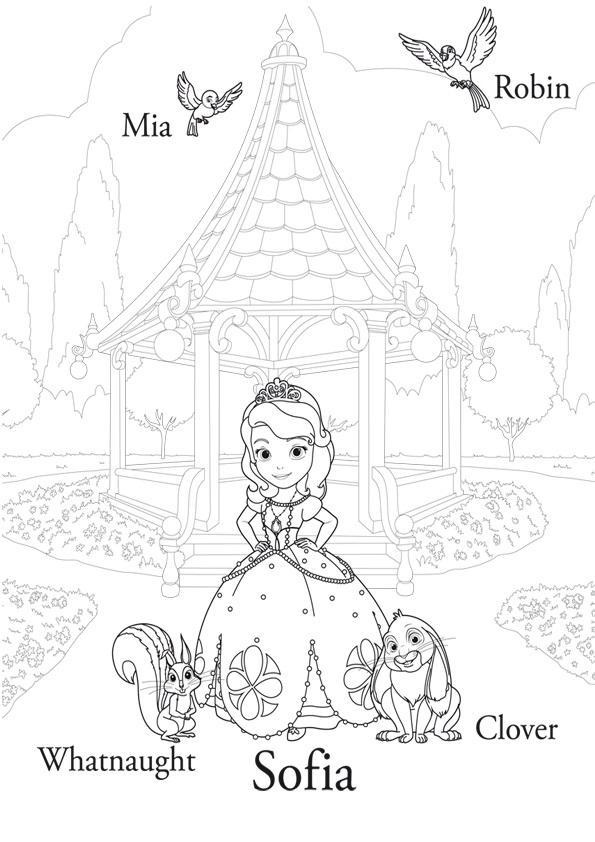 Dibujo de la Princesa Sofia con sus amiguos los animales para ...
