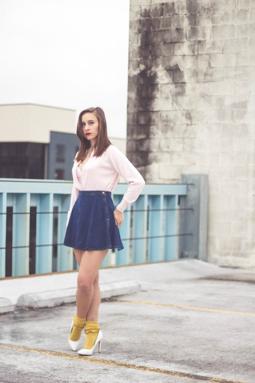 vintage, style, outfit, suzy bishop, tabbisocks, american apparel, denim circle skirt, ruffle socks, heels, pink fuzzy sweater, fall outfit, wes anderson,