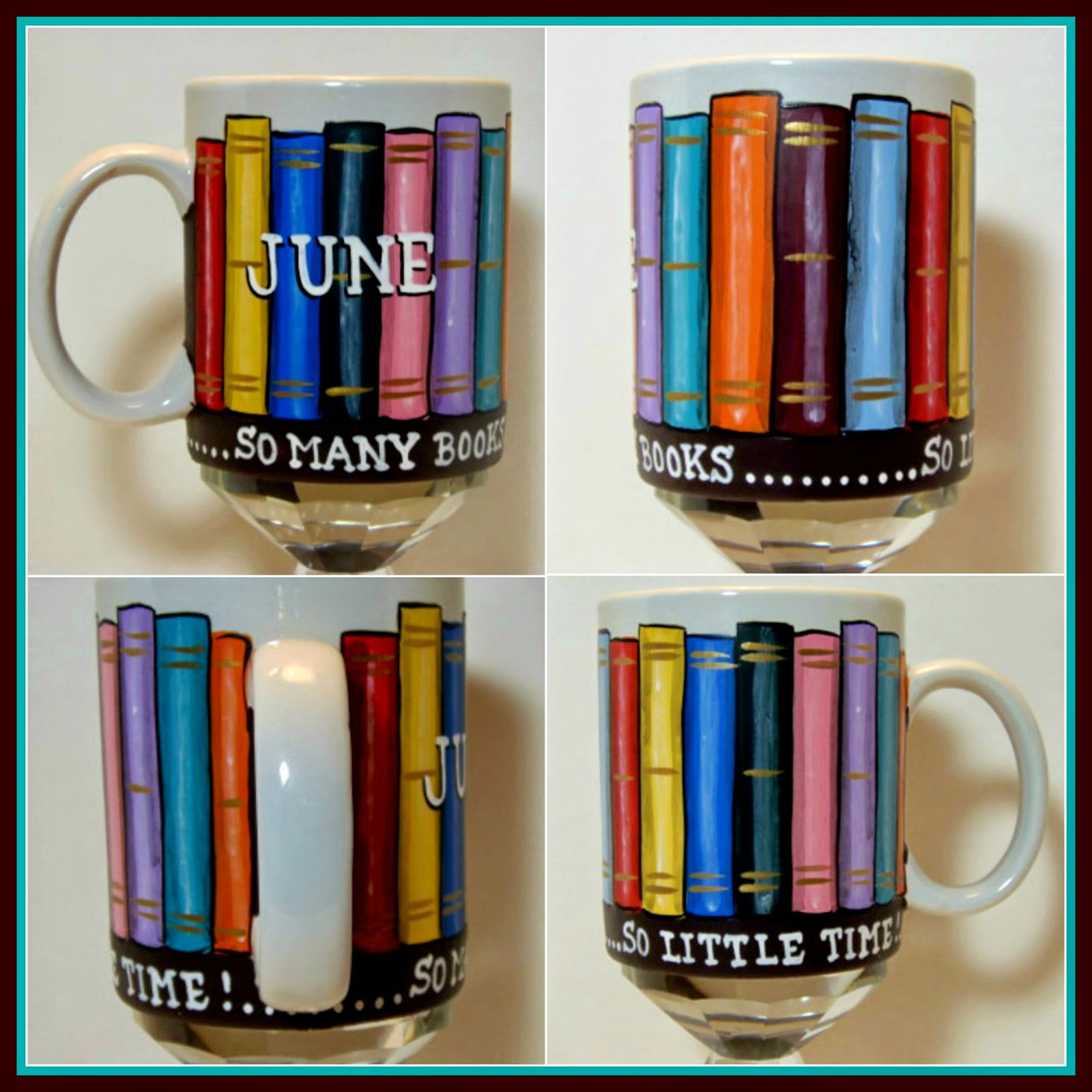 Book Lovers painted coffee mug via kudoskitchenbyrenee.com