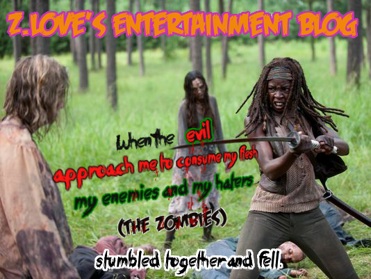 Michonne killing zombies with her sword