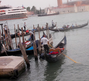 In Venice, the Gondola and the Cruise Ship.  the old and the new...
