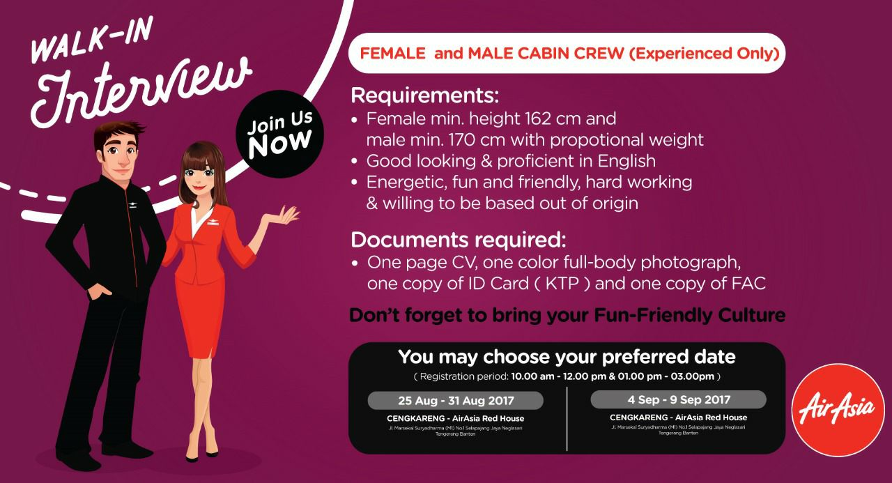 Jakarta] Walk In Interview Experienced Cabin Crew - AirAsia ...