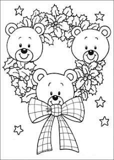 Three cute teddy bears decorated in Christmas wreath coloring page image