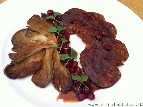 ski series recipe: chorizo crisps w/ balsamic & pomegranate dressing served w/ oyster mushroom noisette