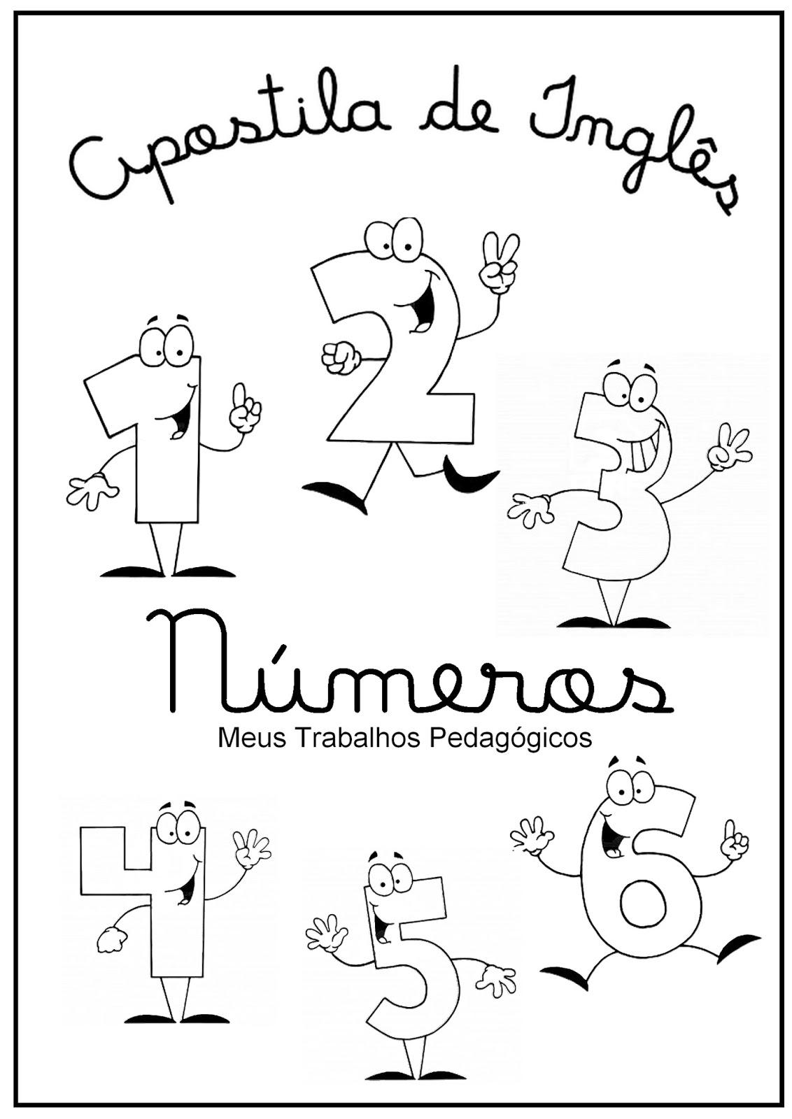 meus trabalhos pedagógicos apostila de inglês números para colorir