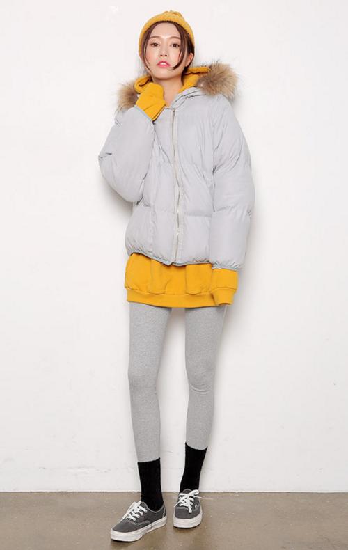 Zippered Fur Trim Padded Jacket
