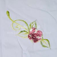 Telekung Vietnam bunga magenta / daun hijau bunga timbul