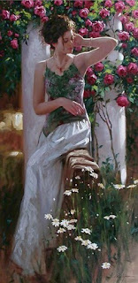 Lady and roses, Richard S. Johnson