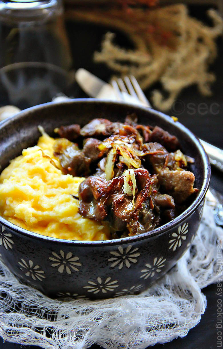 Sauteed Chicken Gizzards over Polenta