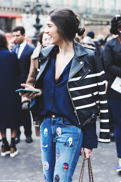 Vaqueros máscaras Stella McCartney Paris Fashion Week Street Style marzo 2015