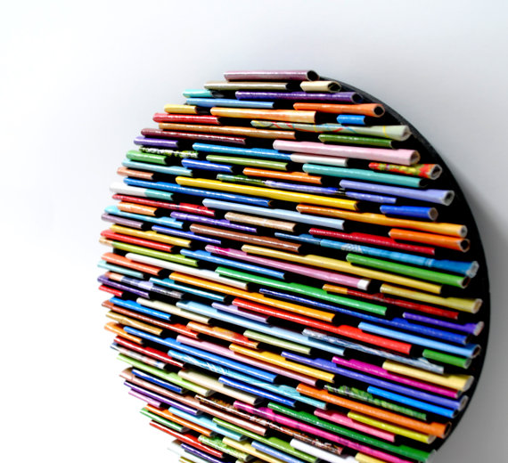 Wall art made from recycled magazines by amy gibson and andrea read - Magazine wall decor ...