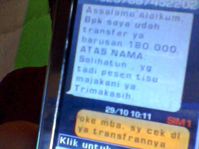 Sms Order Tisu Majakani Mbak Solihatun