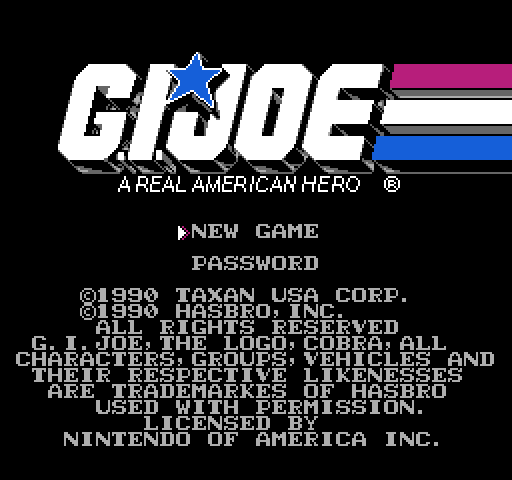G.I. Joe NES title screen