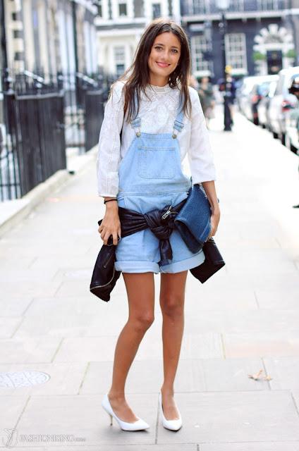 Street Style - denim overalls/shortalls