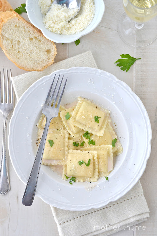 Ravioli with prosecco cream sauce mother thyme if you like prosecco as much as i do check out my meyer lemon prosecco with limoncello or my drinks pinterest board where i have many prosecco cocktails i forumfinder Choice Image