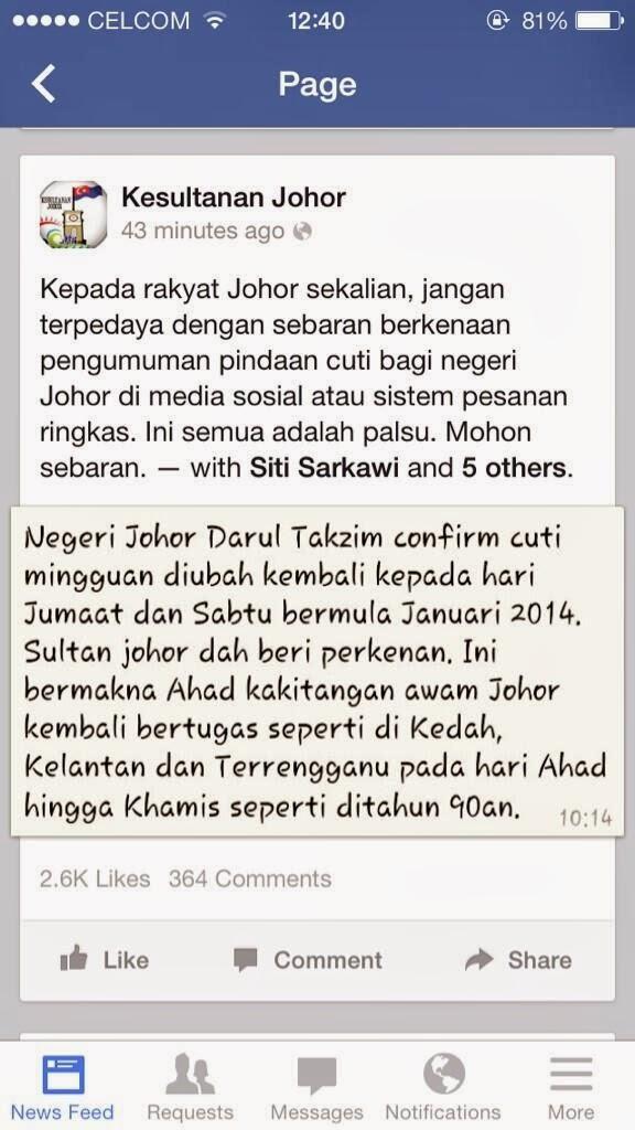 Negeri Johor Hari Jumaat Sebagai Cuti Mingguan?