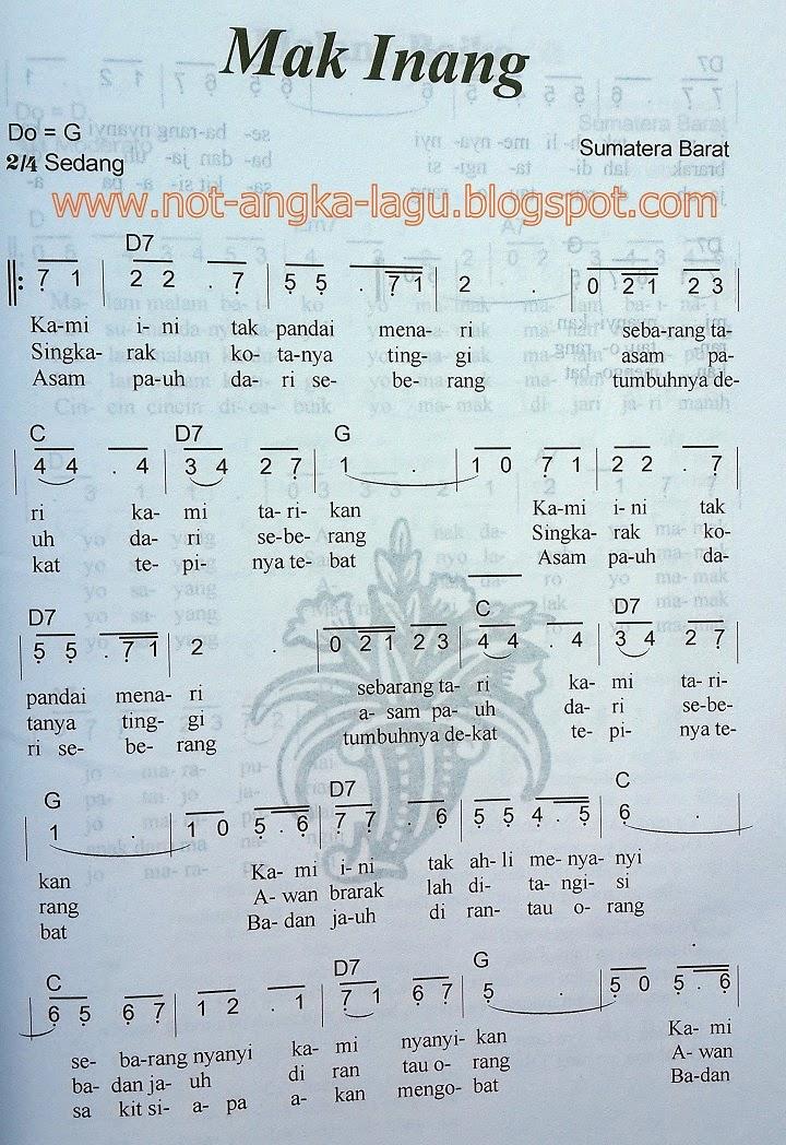 Not Angka Lagu Mak Inang