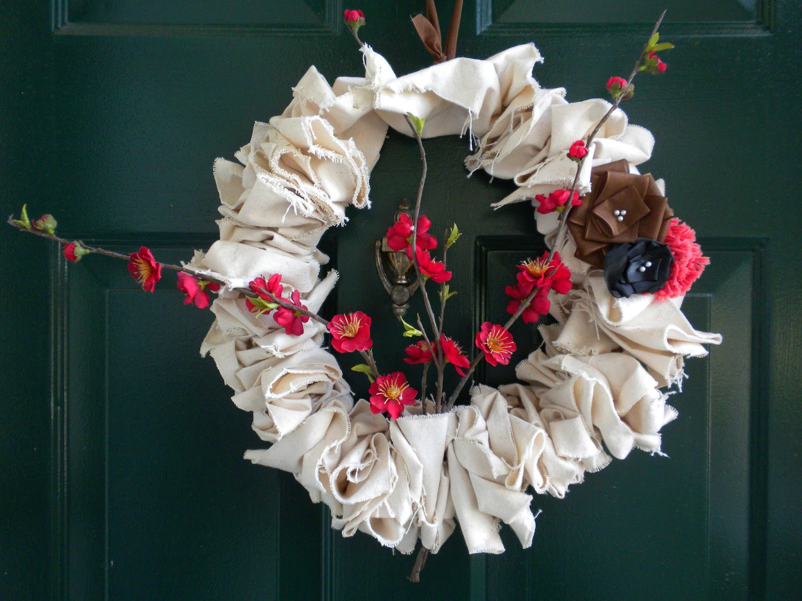 Scrap Fabric Wreath with Flowers