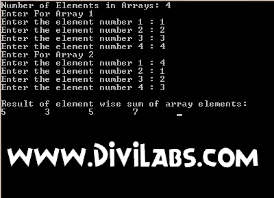 Output of C / C++ Program to calculate element wise sum of 2 arrays