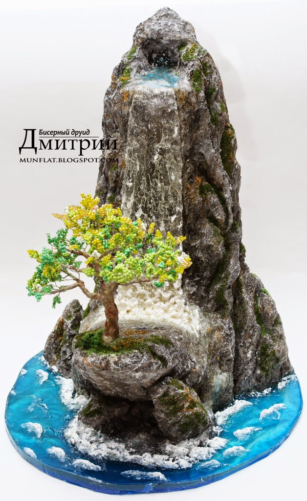 beaded,tree,waterflow,beaded druid dmitry, бисерный, друид, дмитрий, дерево, бисерное, композиция, имитация воды, имитация волн, водопад, гора, скала
