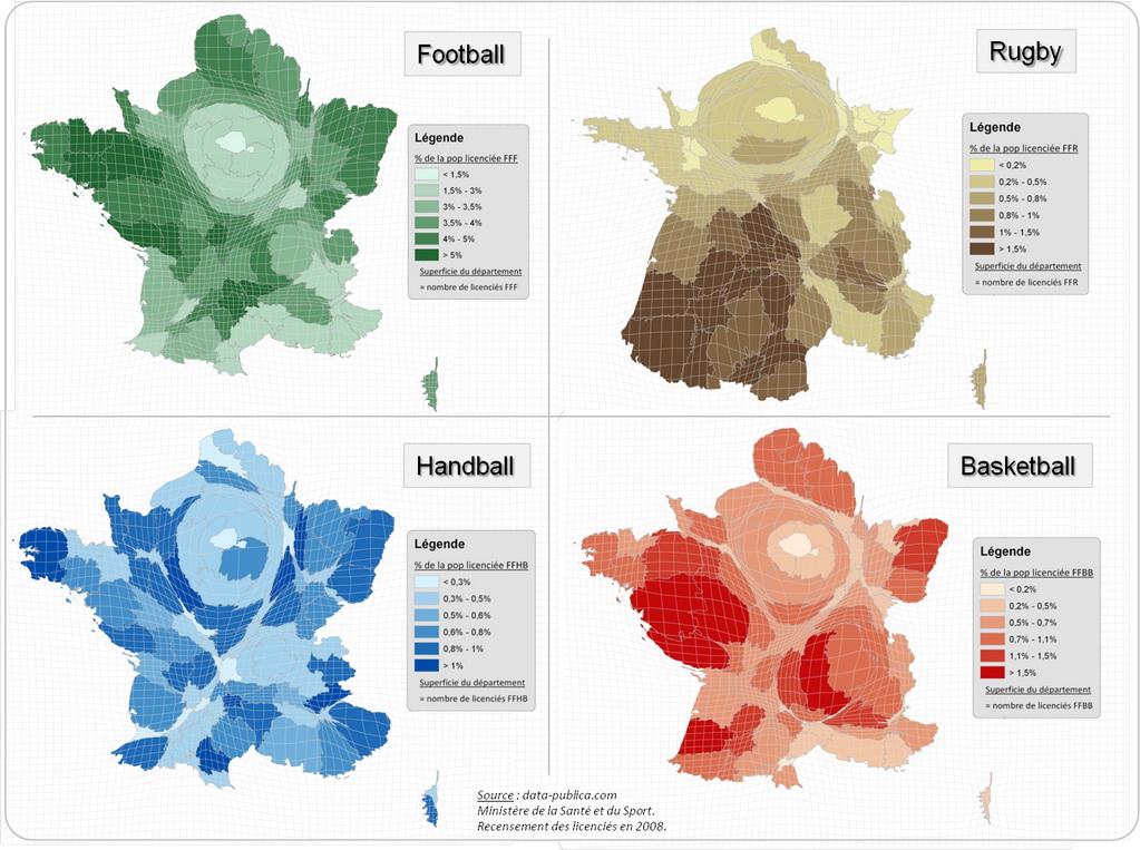 Regional sport popularity in France