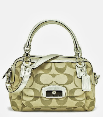 Coach Kristin Signature Double Zip Satchel 22305 Khaki Gold