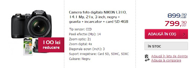 Nikon L310 14.1 mp 21x-negru altex