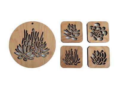 Curiousdoodles Laser Cut Wood Coaster Set Succulent Garden