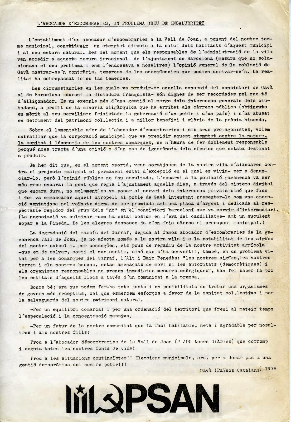 Manifest del PSAN Gavà any 1978