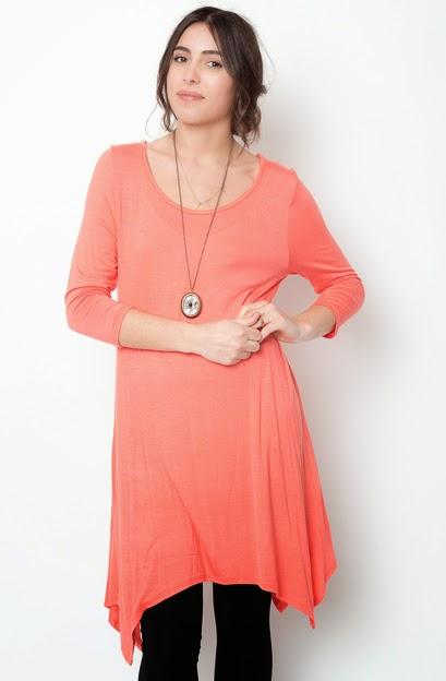 Buy online coral asymmetrical oversized hem tee dress for women on sale