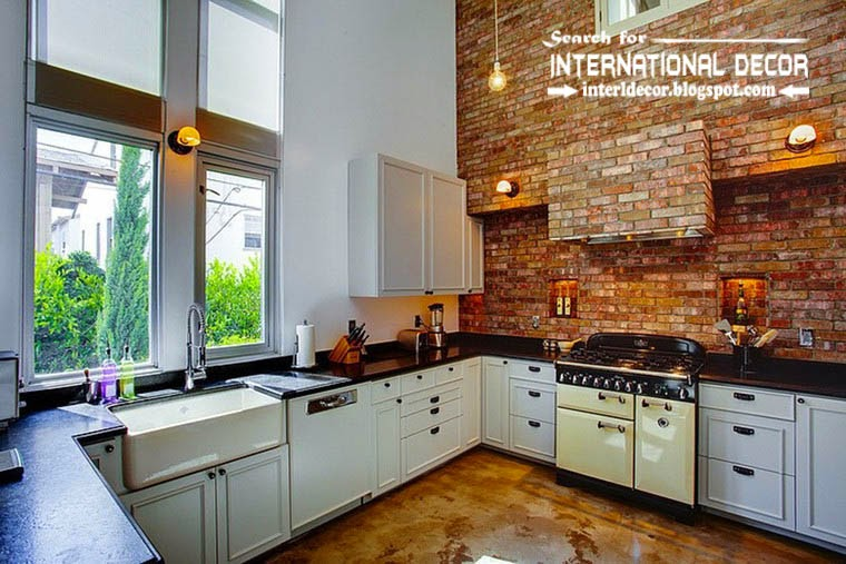 tips to creating retro interior design style, retro style kitchen in white and brick wall