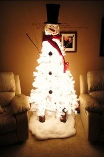DIY White Christmas Tree Snowman