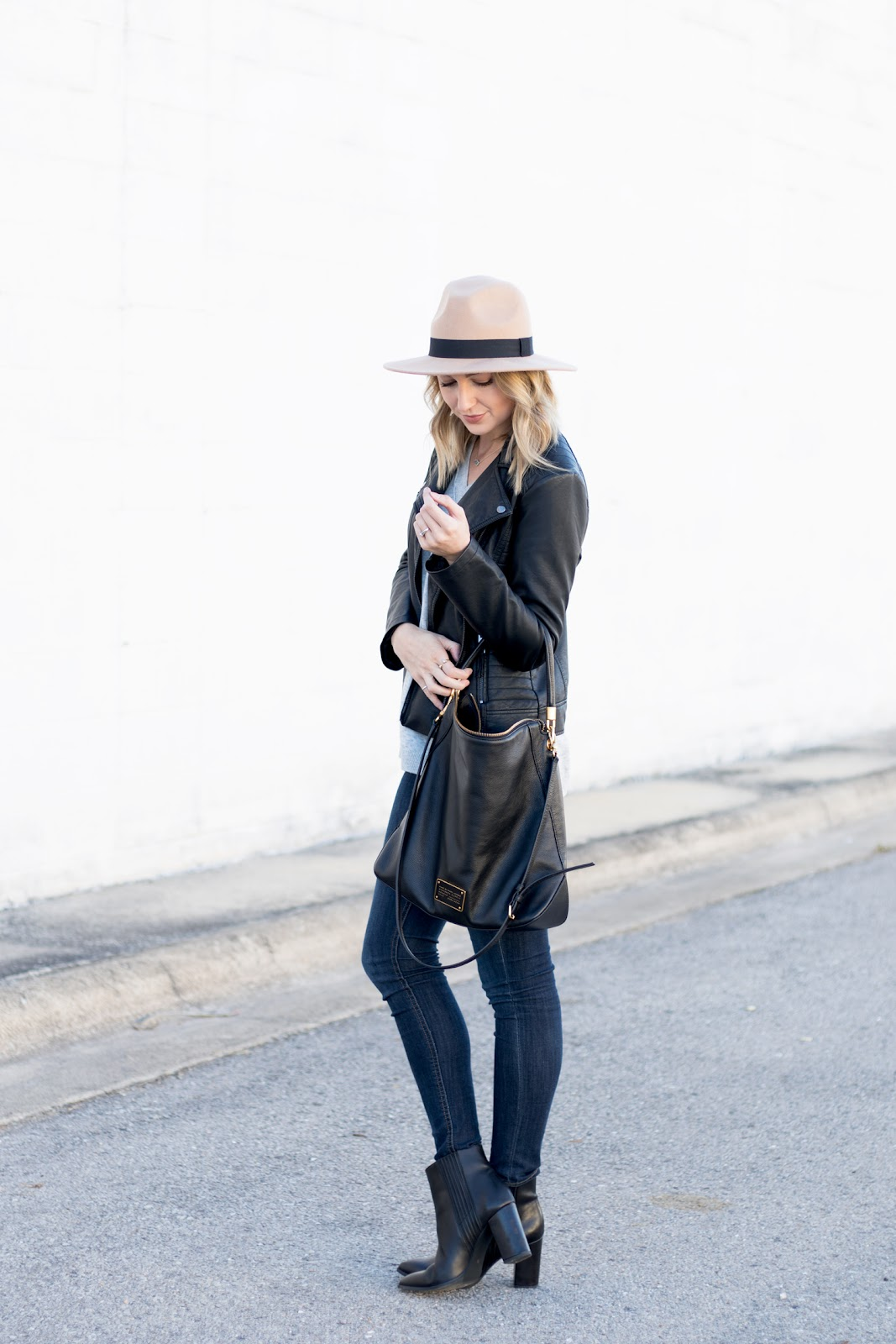 Black leather jacket & booties