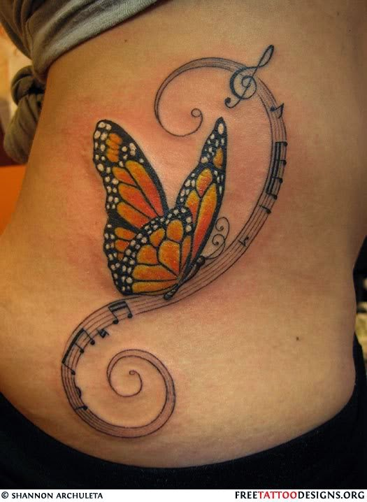 tribal butterfly tattoo