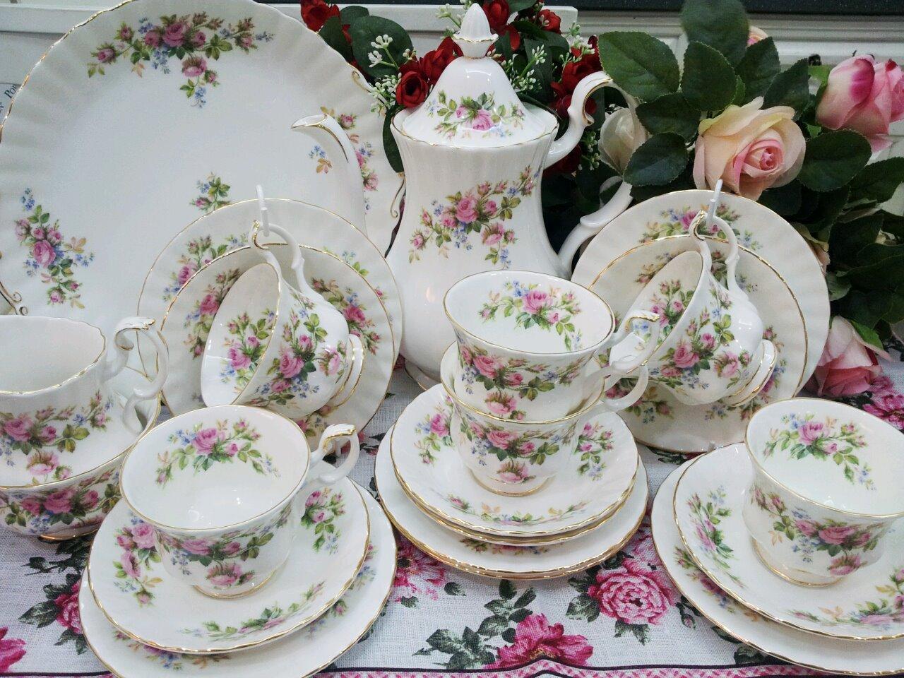 tea set vintage roses wallpaper - photo #27