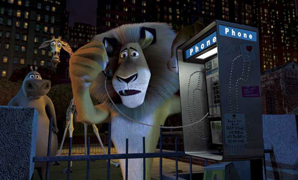 Alex on the telephone in Madagascar animatedfilmreviews.filminspector.com