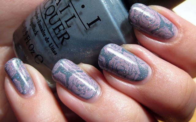 OPI I have a Herring Problem, Konad Pink, Bundlemonster, China Glaze Fairy Dust