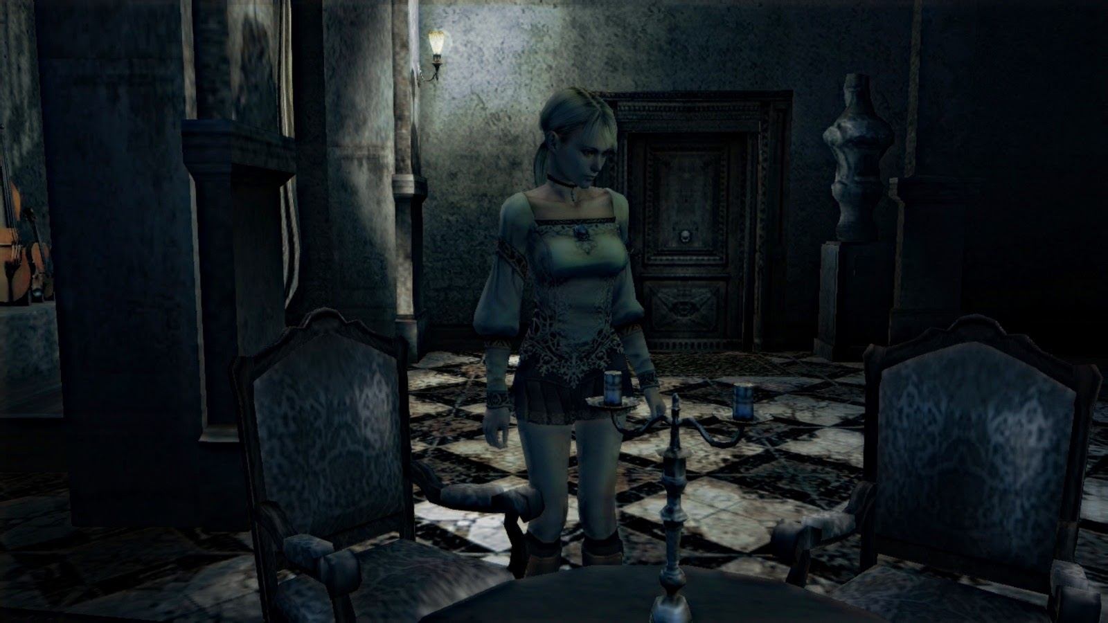 Haunting ground Fiona in castle looking at chair