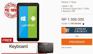 Promo Axioo Windroid 7G 3G Rp 1.500.000