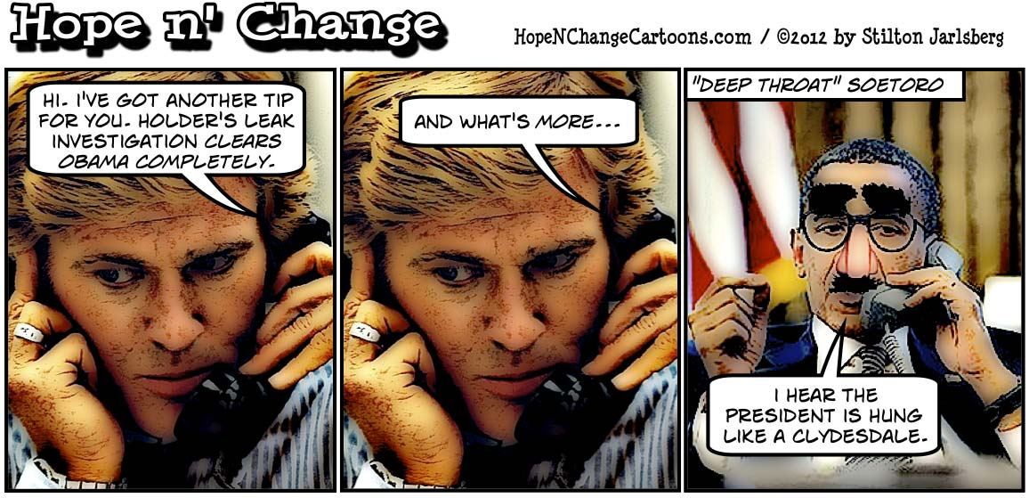 Barack Obama is the source of leaks of classified information, hopenchange, hope and change, hope n' change, stilton jarlsberg, conservative, tea party, political cartoon