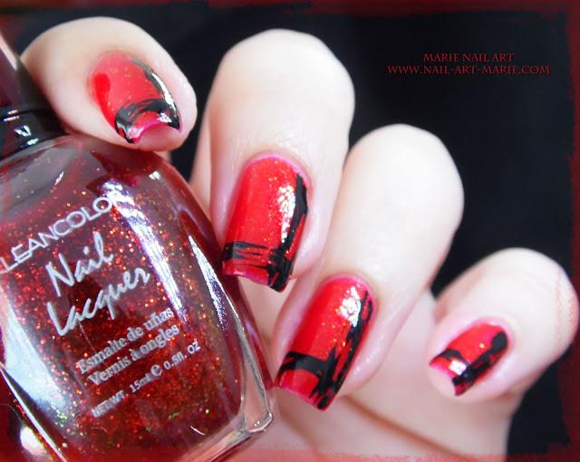 Nail Art Abstrait Rouge et Noir Facile9