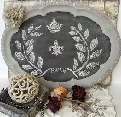 chalkboard tray with French design