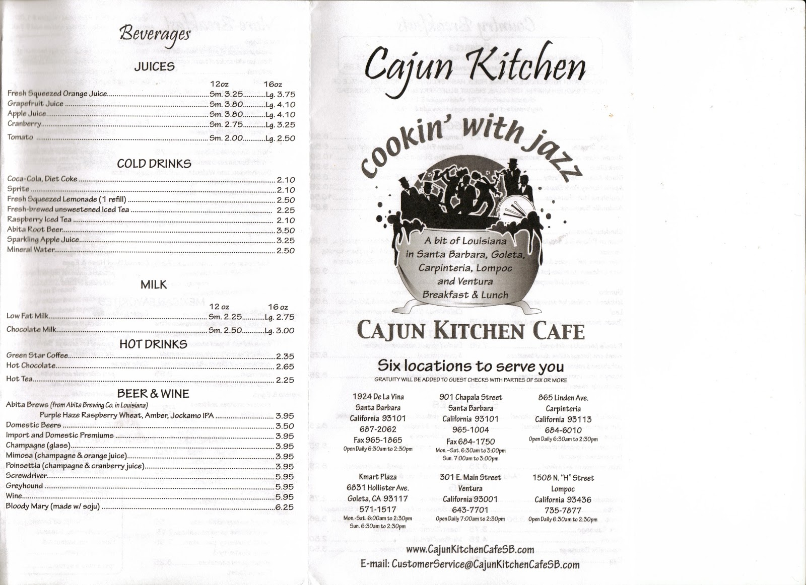 Vc Menu Cajun Kitchen Cafe Ventura Santa Barbara Goleta